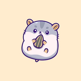 Cute hamster eating sunflower seed
