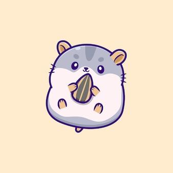 Милый хомяк ест семена подсолнечника