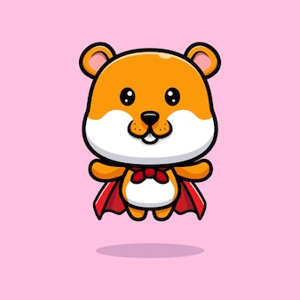 Cute hamster flying with robe cartoon illustration