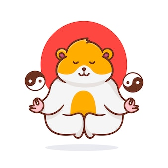 Cute hamster flying with ying yang illustration