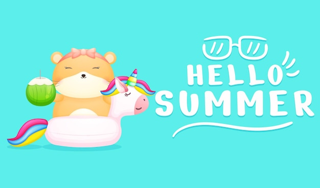 Cute hamster girl holding coconut on swimming buoy with summer greeting banner