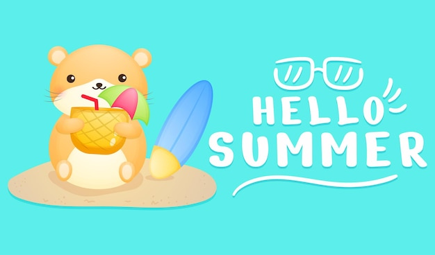 Cute hamster girl holding pineapple juice with summer greeting banner