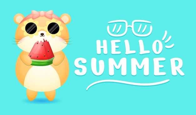 Cute hamster girl holding watermelon with summer greeting banner