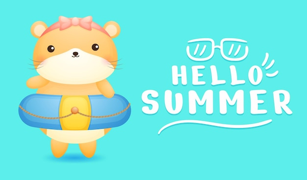 Cute hamster girl with summer greeting banner