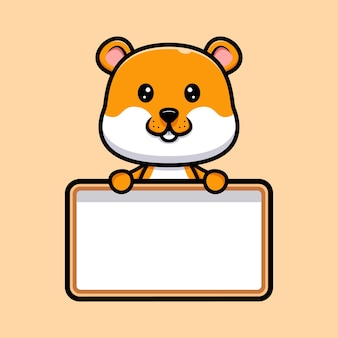 Cute hamster  holding blank text board cartoon illustration