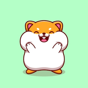 Cute hamster holding the cheek cartoon illustration.