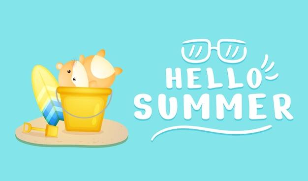 夏の挨拶バナーとバケツの中のかわいいハムスター