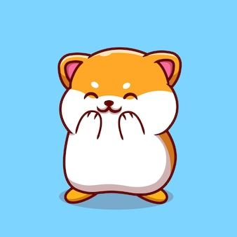 Cute hamster laughing cartoon illustration.