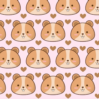 Cute hamster pattern with heart