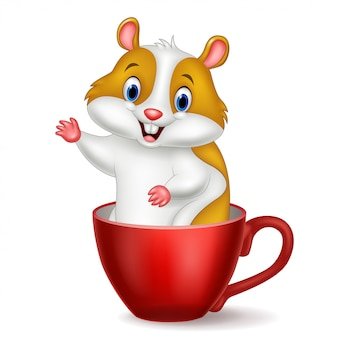 Cute hamster in a red cup