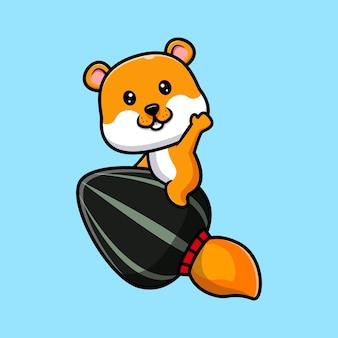 Cute hamster  riding sunflower seed rocket cartoon illustration