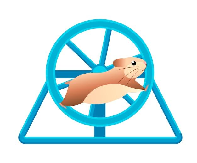 Cute hamster running in rolling wheel illustration