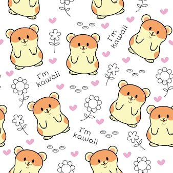Cute hamster seamless pattern
