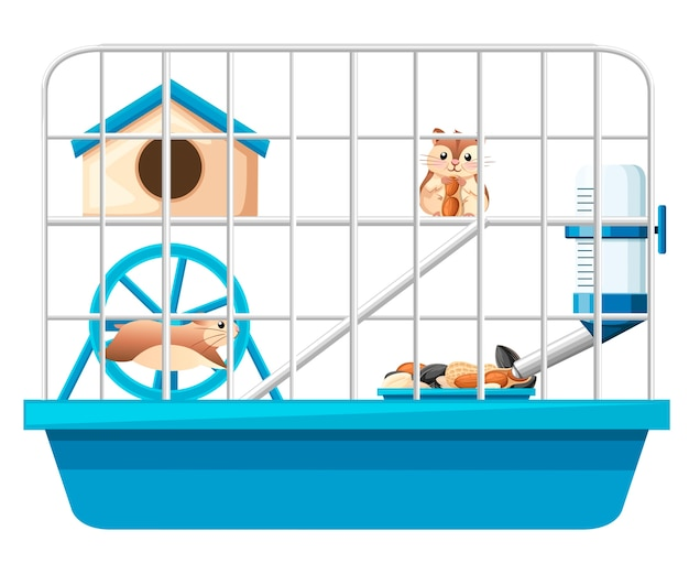 Cute hamster sit and holding nut illustration