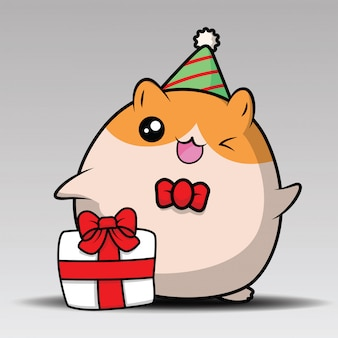 Cute hamster sit and smiling