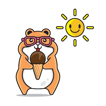 Cute hamster summer cartoon character