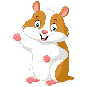 Cute hamster waving hand