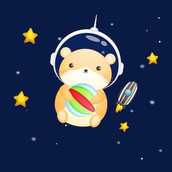 宇宙飛行士のヘルメットをかぶったかわいいハムスター。動物の漫画
