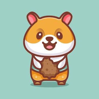 아이콘 로고 스티커 및 일러스트레이션을 위한 쿠키가 있는 귀여운 햄스터