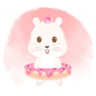 Cute hamster with donut hand drawn illustration