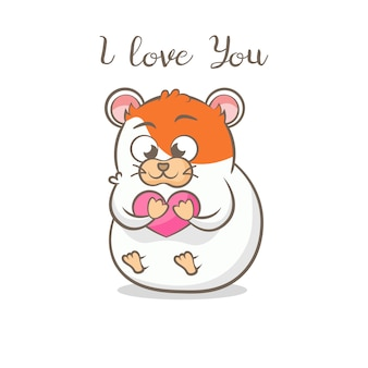 Cute hamster with heart. i love you message