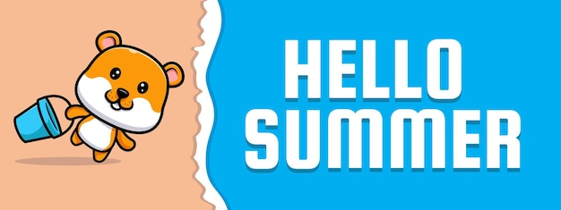 Cute hamster with summer greeting banner