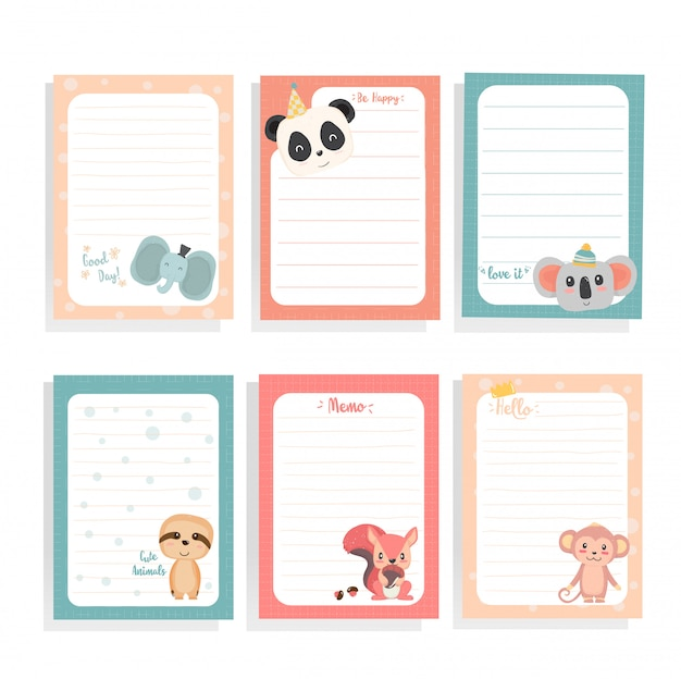 Cute hand draw animal sloth, panda, squirrel, koala, monkey on  note paper collection