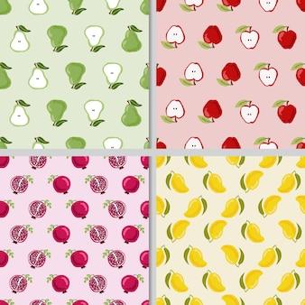 Симпатичные рука рисовать красочные фрукты бесшовные модели коллекции