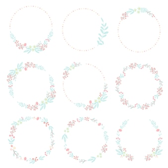 Cute hand draw style pastel pink and blue spring tiny little flower and leaf wreath collection