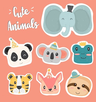 Cute hand drawing wild animal head clip art in pastel color collection flat vector