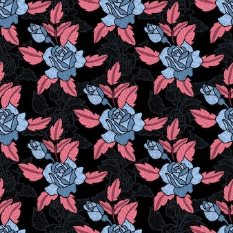 Cute hand drawn abstract style pattern in roses