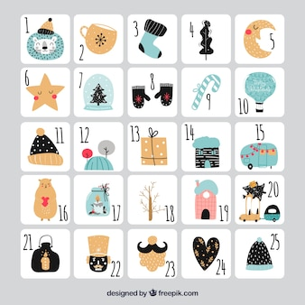 Cute hand drawn advent calendar on a grey background