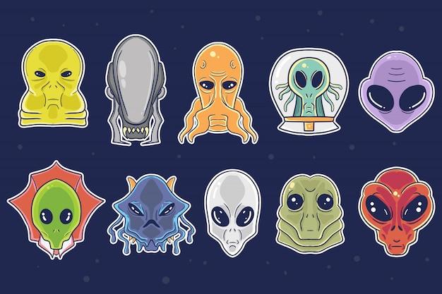 귀여운 손으로 그린 외계인 만화 그림 컬렉션 집합입니다.