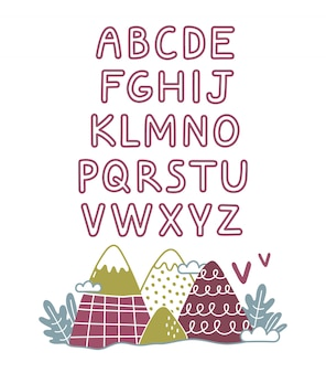 Cute hand drawn alphabet. childish style drawing font