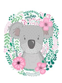 Cute hand drawn animal koala with baby