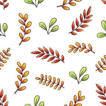かわいい手描きの秋の葉のシームレスなパターンの背景
