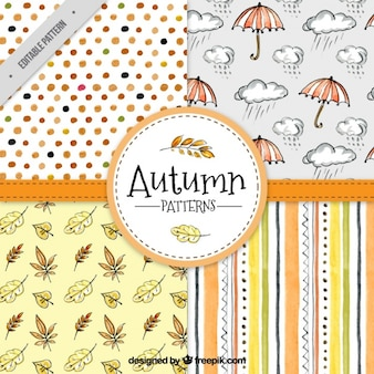 Cute hand drawn autumnal patterns pack
