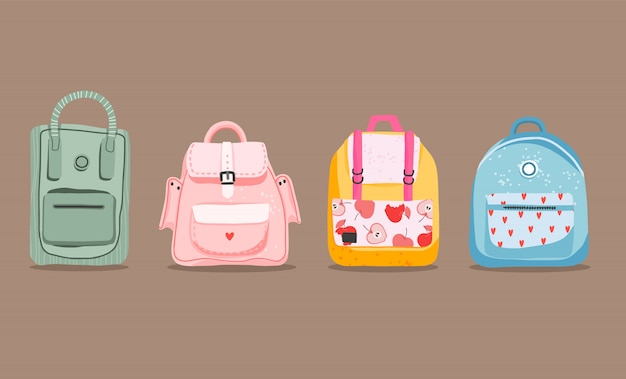 Cute hand-drawn backpacks. variety of cartoony isolated backpacks on a light brown background. back to school and education concept. children school bags.