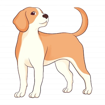 かわいい手描きのビーグル犬