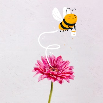 Cute hand drawn bee with a honey jar
