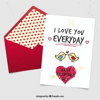 かわいい手描き鳥バレンタインカード