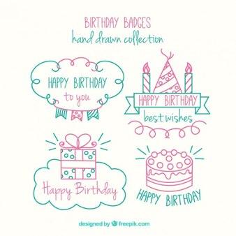 Симпатичные ручной обращается значки на день рождения пакет