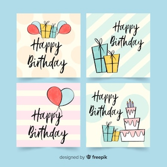 Cute hand drawn birthday card collection