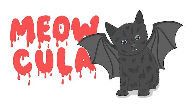 Cute hand-drawn black bat cat illustration