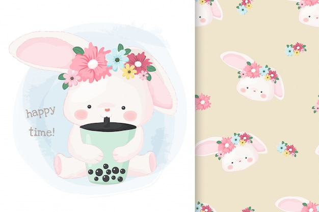 Cute hand drawn bunny drinking bubble milk tea with pattern