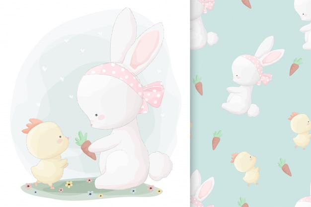 Cute hand drawn bunny and little chick with seamless pattern set