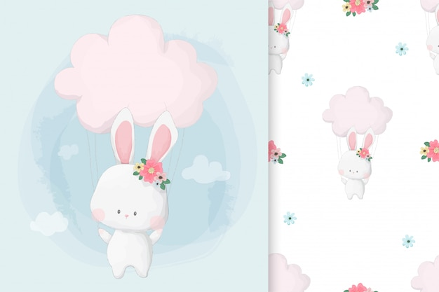 Cute hand drawn bunny summer with seamless pattern set