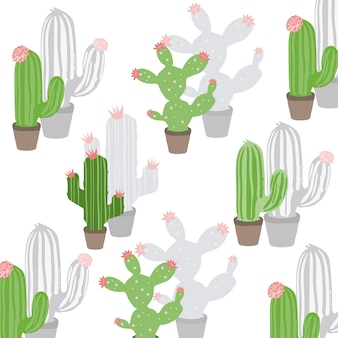 Cute hand drawn cactus plant with flowers