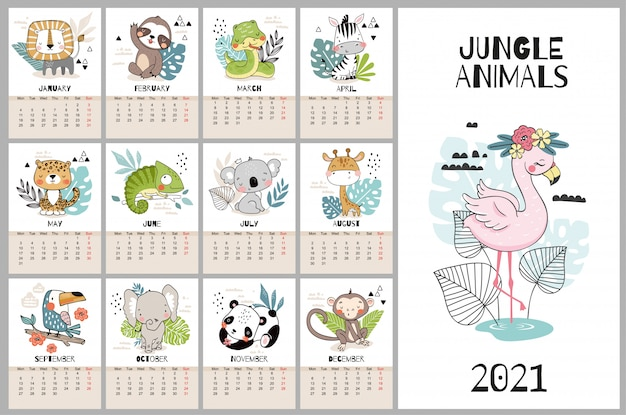 Cute hand drawn calendar for 2021 with jungle animal characters.