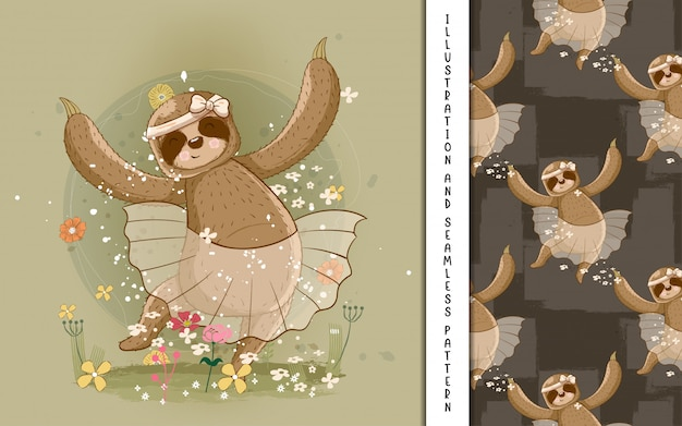 Cute hand drawn cartoon sloth ballerina. print, baby shower